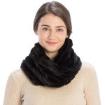 CS9202 Striped Quilting Infinity Scarf, Black