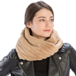 CS9202 Striped Quilting Infinity Scarf, Camel