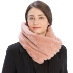 CS9202 Striped Quilting Infinity Scarf, Pink