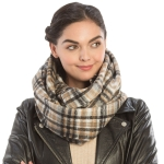 CS9203 Plaid Print Infinity Scarf, Black