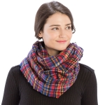 CS9203 Plaid Print Infinity Scarf, Blue