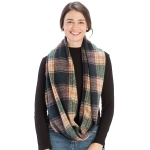 CS9203 Plaid Print Infinity Scarf, Green