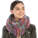 CS9203 Plaid Print Infinity Scarf, Purple