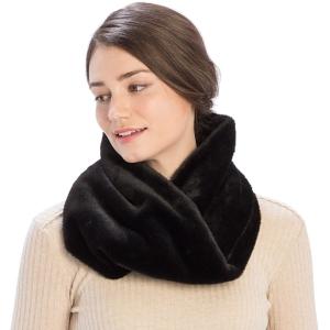 CS9204 Solid Color Faux Mink Fur Infinity Scarf, Black