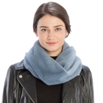 CS9204 Solid Color Faux Mink Fur Infinity Scarf, Blue