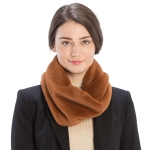 CS9204 Solid Color Faux Mink Fur Infinity Scarf, Brown