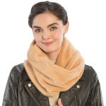 CS9204 Solid Color Faux Mink Fur Infinity Scarf, Camel