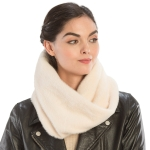 CS9204 Solid Color Faux Mink Fur Infinity Scarf, Ivory