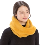 CS9204 Solid Color Faux Mink Fur Infinity Scarf, Mustard