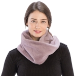 CS9204 Solid Color Faux Mink Fur Infinity Scarf, Purple