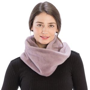CS9204 Solid Color Faux Mink Fur Infinity Scarf, Purple