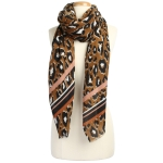 CS9205 Leopard W/Stripe Pattern Scarf, Brown