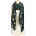 CS9205 Leopard W/Stripe Pattern Scarf, Green