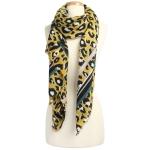CS9205 Leopard W/Stripe Pattern Scarf, Mustard