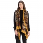 CS9210 Leopard Pattern W/Chain Border Scarf, Mustard