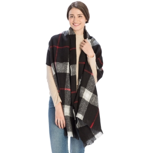 CS9215 Checker Plaid Pattern Scarf, Black
