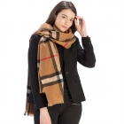 CS9215 Checker Plaid Pattern Scarf, Camel
