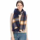 CS9215 Checker Plaid Pattern Scarf, Navy