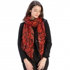 CS9217 Tiger Print Scarf, Red