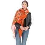 CS9218 Floral Print Scarf, Orange