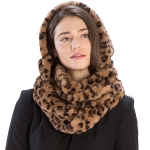 CS9222 Printed Faux Fur Infinity Scarf With Hood, Animal