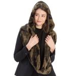 CS9222 Printed Faux Fur Infinity Scarf With Hood,Camo