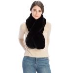CS9230 Solid Color Faux Fur Scarf with Slit, Black