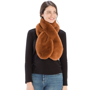 CS9230 Solid Color Faux Fur Scarf with Slit, Rust