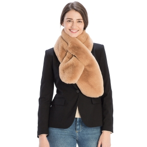 CS9230 Solid Color Faux Fur Scarf with Slit, Taupe