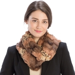 CS9231 Mixed Animal Print Faux Fur Infinity Scarf, Brown
