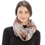 CS9231 Mixed Animal Print Faux Fur Infinity Scarf, Indie Pink