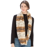 CS9231 Mixed Animal Print Faux Fur Infinity Scarf, Taupe