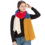 CS9234 Four-Color Block Scarf, Mustard