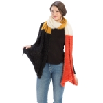 CS9234 Four-Color Block Scarf, Rust