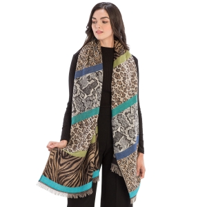 CS9235 Multi Animal Prints & Solid Colors Scarf