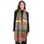 CS9235 Multi Animal Prints & Solid Colors Scarf, Coral