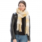 CS9236 Bulky Plaid Pattern Scarf, Beige