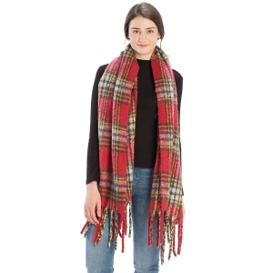 CS9236 Bulky Plaid Pattern Scarf, Red