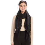 CS9237 Solid Color with Pearl Accent Scarf, Black