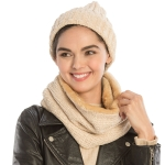 CS9238 Solid Chenille Lined Infinity Scarf & Hats Set, Beige