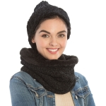 CS9238 Solid Chenille Lined Infinity Scarf & Hats Set, Black
