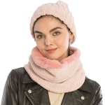 CS9238 Solid Chenille Lined Infinity Scarf & Hats Set, Pink