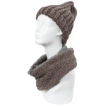 CS9238 Solid Chenille Lined Infinity Scarf & Hats Set, Taupe