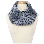 CS9240 Leopard Faux Fur Neck Warmer Infinity Scarf, Grey