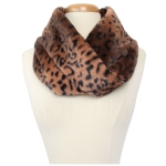 CS9240 Leopard Faux Fur Neck Warmer Infinity Scarf, Brown