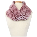 CS9240 Leopard Faux Fur Neck Warmer Infinity Scarf, Pink