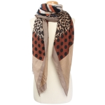 CS9242 Animal Pattern and Polka Dot Scarf, Brown