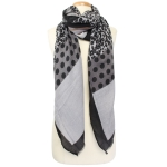 CS9242 Animal Pattern and Polka Dot Scarf, Grey
