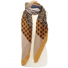 CS9242 Animal Pattern and Polka Dot Scarf, Mustard