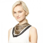 CS9136 Animal Print Square Scarf, Black